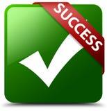 成功确认象绿色方形的按钮 免版税库存照片
