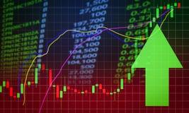 成功股票市场市场价利润增长的绿色箭头 库存照片