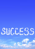 以成功词的形式云彩 免版税库存照片