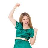 成功赢取的妇女 免版税库存图片