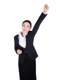 成功/优胜者在白色隔绝的女商人 库存图片