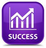 成功(统计象)特别紫色方形的按钮 免版税库存照片
