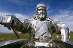 成吉思汗骑马雕象在蒙古 免版税图库摄影