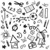 成套工具单色孩子和学校剪影 免版税库存照片
