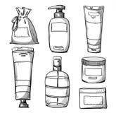 成套设计 化妆用品包装 免版税库存照片