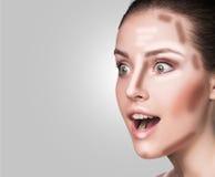 组成妇女面孔 等高和聚焦构成 免版税库存图片
