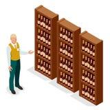 成年男性卖主等量画象一致的显示的瓶的对一名顾客的酒酒铺的 向量 库存图片