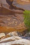 成拱形国家公园刻在岩石上的文字 免版税库存照片