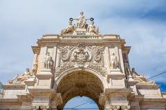 成拱形在商务正方形在里斯本,葡萄牙 库存照片