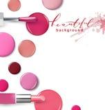 组成指甲油产品 秀丽和化妆用品背景 广告飞行物的,横幅,传单用途 向量 向量例证