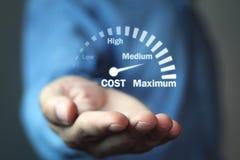 成本控制车速表 费用管理 免版税库存照片