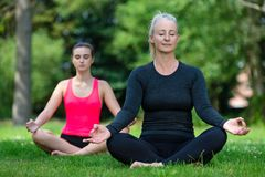 成熟中部年迈的和少妇实践的瑜伽外面 库存照片