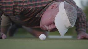 成熟人设法吹在孔的高尔夫球 户外休闲和体育的概念 股票视频