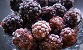 成熟冷冻黑莓 图库摄影