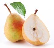 成熟半的梨 免版税库存照片