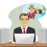 成熟商人作梦关于坐与膝上型计算机的假期在办公室 库存例证