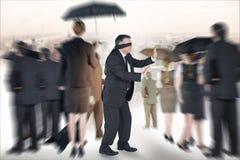 成熟商人的综合图象在眼罩的 免版税库存照片