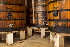 成熟在木桶,地窖内部的葡萄酒在波尔图波尔图镇 免版税图库摄影