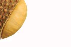 成熟在留连果壳里面的黄色留连果,在与拷贝空间的白色背景 库存图片