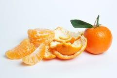成熟在白色背景的普通话柑橘被隔绝的蜜桔橘子 免版税库存照片