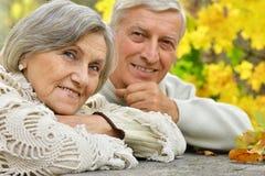 成熟夫妇在秋天公园 免版税库存照片