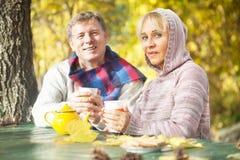成熟夫妇饮用的茶本质上 库存图片