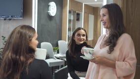 成熟妇女与年轻有吸引力的模型讲话,坐回到照相机和面孔与反射 股票录像