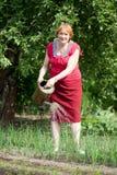 成熟妇女浇灌的葱植物 免版税图库摄影