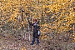 成熟年龄的妇女在桦树旁边的森林里与黄色 免版税库存照片