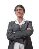 成熟恼怒的女实业家 免版税库存图片