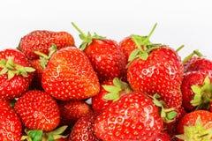 成熟新鲜的草莓特写镜头 免版税库存照片