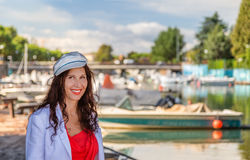 成熟旅游近的被停泊的小船 免版税库存照片