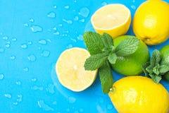 成熟有机柑橘水果柠檬撒石灰整个和对分用在浅兰的背景的新鲜薄荷与水下落 早晨Sunligh 库存照片