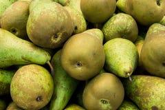 成熟有机绿色和布朗会议梨堆在农夫市场上 明亮的充满活力的生动的颜色 维生素健康的Superfoods 免版税库存图片