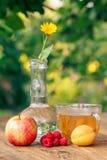成熟果子、金盏草花与一个词根在一个玻璃烧瓶和c 库存照片