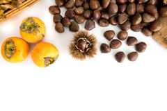 成熟柿子新鲜的栗子和篮子用被隔绝的蘑菇 免版税库存照片