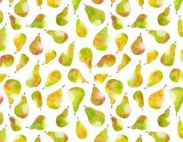 成熟梨的无缝的样式,水彩 库存图片