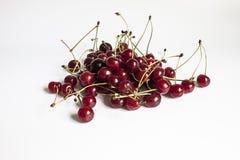 成熟樱桃是与小树枝 免版税库存照片