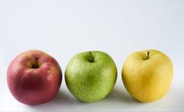 成熟水多的三个苹果 库存照片