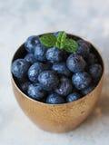成熟湿蓝莓和薄菏小树枝在一块金黄玻璃的 库存图片