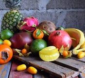 成熟热带水果的混合用鲕梨,芒果,椰子,阳桃,香蕉,金桔, pitahaya,猕猴桃 Superfood背景 Vegeta 免版税图库摄影