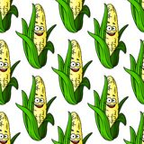 成熟玉米无缝的样式 库存照片