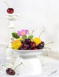 成熟甜樱桃和杏子在一个白色花瓶果子的 库存照片