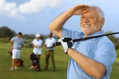 成熟男性高尔夫球运动员特写镜头画象  免版税库存照片