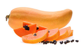 成熟番木瓜果子白色背景 免版税库存照片