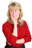 成熟白肤金发的妇女-认为 免版税库存图片