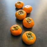 成熟的柿子 概念-健康吃,素食主义 selec 库存照片