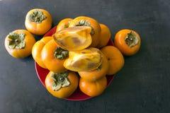 成熟的柿子 概念-健康吃,素食主义 selec 库存图片