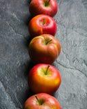成熟秋天苹果红色和黄色在从板岩的黑石背景 收获 维生素有益于健康 图库摄影