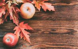 成熟红色苹果和五颜六色的秋天槭树叶子在木布朗背景 图库摄影
